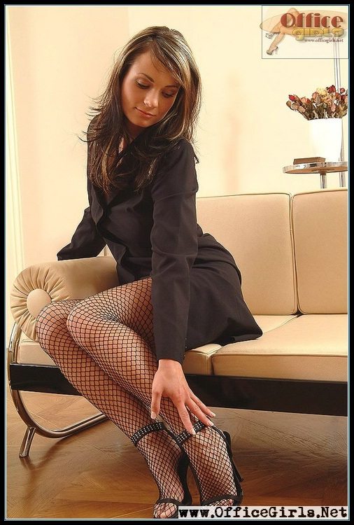 Classy fetish very sexy secretary from office girls in black fishnet pantyhose and light - Office girls in stockings ...