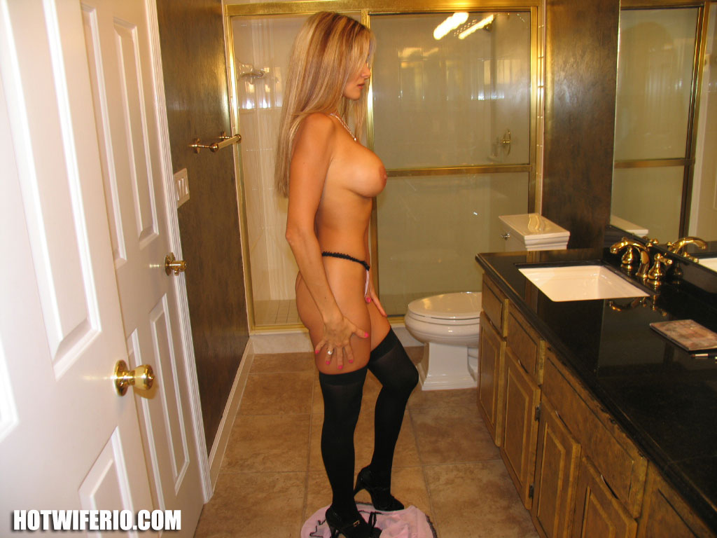 hot women in the bathroom with stockings